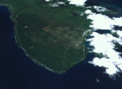 Satellite image of the Kavieng peninsula