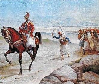 Battle of Valtetsi - Kolokotronis leading his army towards Valtetsi