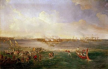 The landing of the Spanish expedition to Sulu by Antonio Brugada. Landing Balanguingui.jpg