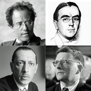 Benjamin Britten - Early influences, clockwise from top left: Mahler, Ireland, Shostakovich, Stravinsky