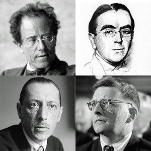 Benjamin Britten - Early influences, clockwise from top left: Mahler, Ireland, Shostakovich, Stravinsky