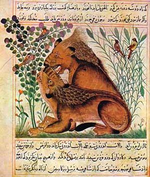 Bukhtishu - Ibn Bakhtishu's Manafi' al-Hayawan (منافع الحيوان ), dated 12th century. Captions appear in Persian language.