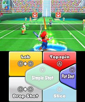 Mario Tennis Open - Mario and Yoshi playing against Luigi and Daisy in a doubles match. The player can choose to execute different shots using button-presses or by selecting them from the Nintendo 3DS touchscreen, as shown.