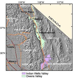 Indian Wells Valley - USGS diagram showing the groundwater basins of Owens and Indian Wells Valleys