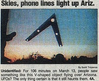 Phoenix Lights - A drawing of the object created by witness Tim Ley appeared in USA Today.