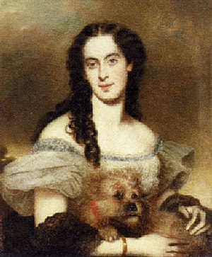 Joseph Matthäus Aigner - Portrait of a lady with her dog (1863)