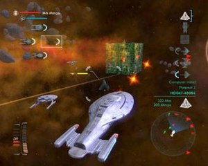 Star Trek: Legacy - Gameplay in Star trek: Legacy. Here the Intrepid class U.S.S. Voyager is engaging a Borg Cube.