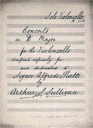 Cello Concerto (Sullivan) - Title page of early copy of cello part