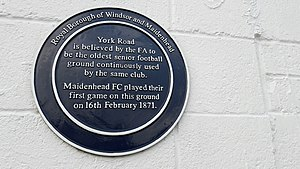 Maidenhead United F.C. - A plaque at York Road commemorates its recognition as the oldest continuously-used ground in senior football.