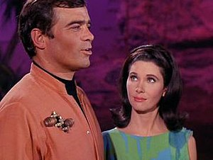 "Zefram Cochrane - Glenn Corbett as Cochrane with Elinor Donahue as Nancy Hedford in the 1967 Star Trek episode ""Metamorphosis""."