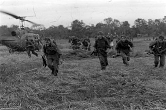 Operation Bribie - Australian soldiers from 6 RAR being picked up by helicopter during Operation Bribie, 17 February 1967.