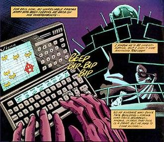 "Batman: Anarky - Anarky stands before his ""de-brainwashing"" device atop a sky scraper in ""Metamorphosis"". Illustration by Norm Breyfogle."