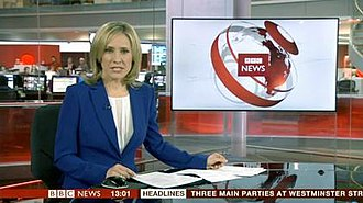 BBC News (TV channel) - The first BBC News at One at Broadcasting House, 18 March 2013, 13:00 pm.