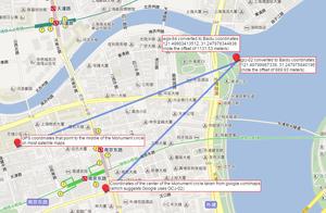 Baidu Maps - Screenshot of Baidu Map with WGS-84, GCJ-02 and BD-09 markers