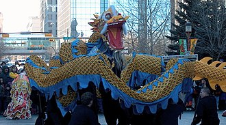 Chinatowns in Canada - Chinese Dragon Dance in Calgary Chinatown