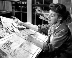 Dale Messick - Messick, shown working on Brenda Starr in 1953.