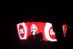 "ONE Campaign - Archbishop Desmond Tutu speaking about ONE in a prerecorded video shown before a U2 performance of ""One"" during the group's U2 360° Tour in 2009."
