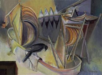Emmy Bridgwater - Emmy Bridgwater, Night Work is About to Commence (1943), Oil on board.