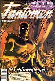 Cover of the Swedish Fantomen magazine, No. 8/2003 (#1303 since the start 1950). Art by Hans Lindahl. Published by Egmont.