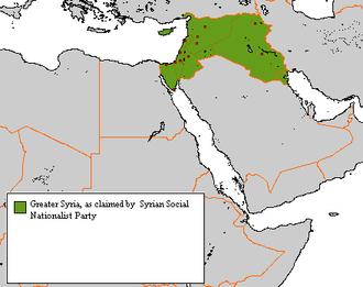 Antoun Saadeh - Natural Syria includes modern Syria, Lebanon, Palestine, Jordan, Iraq, Cyprus, Sinai Peninsula, the Ahvaz region, and Kilikia.