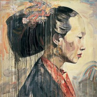 Hung Liu - Hung Liu - Chinese Profile II, 1998. Oil on canvas, 80 x 80 in. Collection of San Jose Museum of Art.