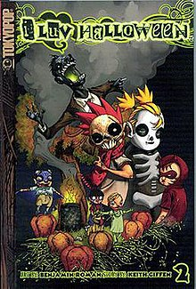 "A book cover. At the top is text reading ""i Luv Halloween"". Further on is a picture of a group of children near a pumpkin patch; a zombie stands behind two of the children. Text at the bottom notes that the author is Keith Giffen, the illustrater is Benjamin Roman, and this is the second volume."