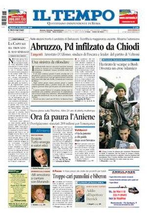 Il Tempo - Image: Il Tempo front page 2008 12 16