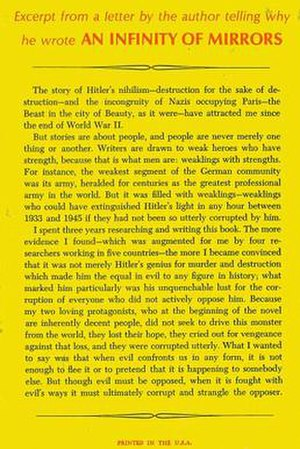 An Infinity of Mirrors - Back cover of the 1964 first edition with an explanation by Condon of why he wrote the book