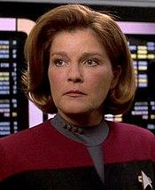 Mulgrew as Captain Kathryn Janeway in Star Trek:Voyager.