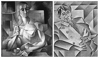 "Du ""Cubisme"" - (1) Jean Metzinger, 1911, Le goûter (Tea Time), Philadelphia Museum of Art. Exhibited at the 1911 Salon d'Automne. Published in Fantasio, Oct. 15, 1911, and Les Peintres Cubistes by Guillaume Apollinaire, 1913. André Salmon dubbed this painting ""The Mona Lisa of Cubism"".  Reproduced in Du ""Cubisme""  (2) Juan Gris, 1912, Hommage à Pablo Picasso, Art Institute of Chicago. Exhibited at the 1912 Salon des Indépendants"