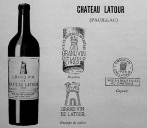 Château Latour - Château Latour presentation card dated 1931, demonstrating the designs of the early 20th century, the label, cork, case and capsule markings