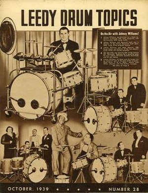 "Johnny Williams (drummer) - Williams featured on the cover of Leedy Drum Topics promotional booklet, October 1939, with Raymond Scott, Kate Smith, Bill ""Bojangles"" Robinson, and others"