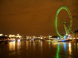 London Eye at night over the River Thames