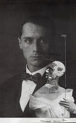 Max Ernst - Max Ernst, 1920, Punching Ball ou l'Immortalité de Buonarroti, photomontage, gouache, ink on photograph (self-portrait)