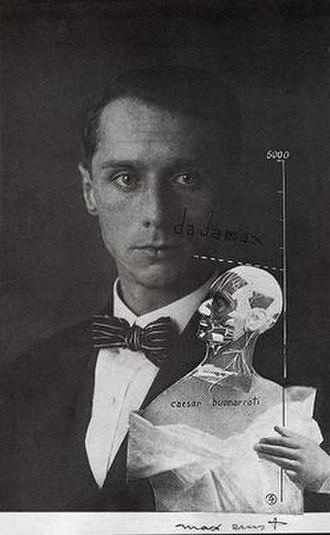 Max Ernst - Max Ernst, 1920, Punching Ball ou l'Immortalité de Buonarroti, photomontage, gouache, ink on photograph (self-portrait)