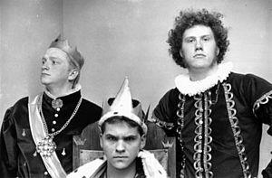 Monarchy Party - Left to right: Jason T. Shipp, Jon Lammers, Andrew Arvesen. January 26, 1990