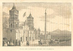 Revolt of the Polkos - Plaza and Cathedral in Mexico City, 1847