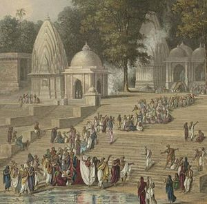 Bengal Sati Regulation, 1829 - Aquatint from the early 19th century purporting to show ritual preparation for the immolation of a Hindu widow, shown in a white sari near the water, atop the funeral pyre of her deceased husband.