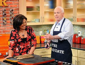 Rachael Ray with John McCain in the kitchen on...