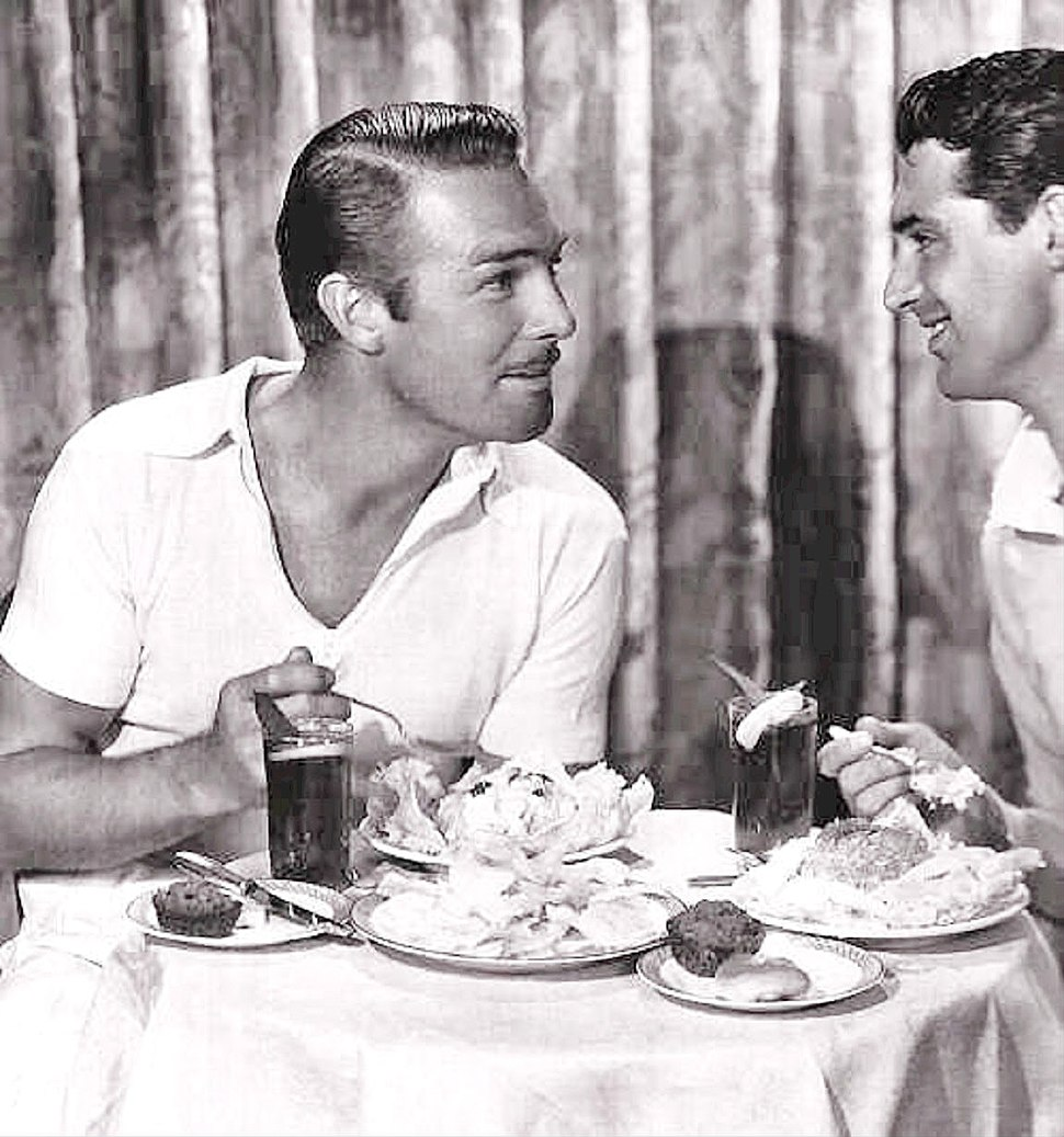 Randolph Scott and Cary Grant over a seafood lunch