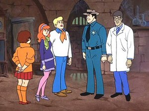 "Scooby-Doo - Every episode of the original Scooby-Doo format contains a penultimate scene in which the kids unmask the ghost-of-the-week to reveal a real person in a costume, as in this scene from ""Nowhere to Hyde"", an episode of Scooby-Doo, Where Are You! originally aired on September 12, 1970."