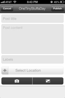 Screenshot of Blogger app on iOS