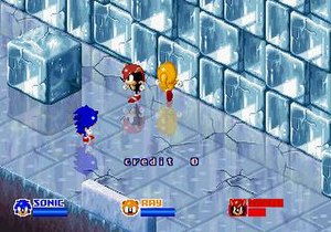 SegaSonic the Hedgehog - (From left to right) Sonic, Mighty, and Ray skate across an ice-themed level