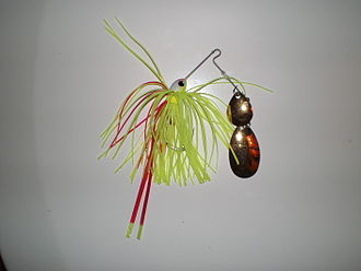 Spinnerbait - Safety Pin Spinnerbait with a tandem blade configuration; a Colorado blade mounted ahead of an Indiana blade.