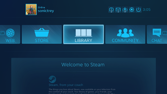 "Steam (software) - When connecting one's computer to a television, Steam's ""Big Picture"" mode ""turns"" the computer into a console navigable with both a controller and mouse."