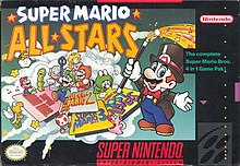 The Super Mario All-Stars box art depicts Mario, dressed as a magician, showcasing panels that feature the included games' titles. Around the panels are elements from the included games, such as Mario wearing various suits, Luigi, Toad, Princess Toadstool, and enemies. In the upper left corner, the game's logo is shown in white and yellow text. The Super Mario All-Stars artwork is surrounded by the SNES box art template.