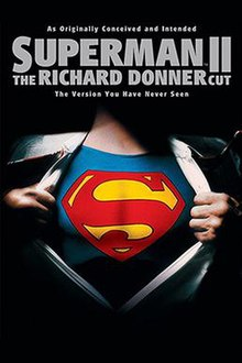 Beneath the film title, the torso of Superman wearing a suit and white shirt is shown. The shirt is pulled apart to reveal a large red 'S' symbol
