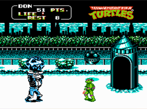 Teenage Mutant Ninja Turtles (arcade game) - The Snowfield level added to the NES port.