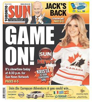 Sun News Network - An image of Sun News Network's Krista Erickson appeared on the 4/18/2011 front page of the Toronto Sun to herald that day's launch of Sun News Network. The Sun newspapers served as both a promotional tool and content source for the network.