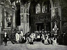 Сцена, изображающая церковный интерьер с высокими витражами и тяжелыми орнаментальными колоннами.  Центральная фигура - высокое сановник, вокруг которого преклоняют колени несколько фигур, а на заднем плане видны высокие пики швейцарской гвардии.